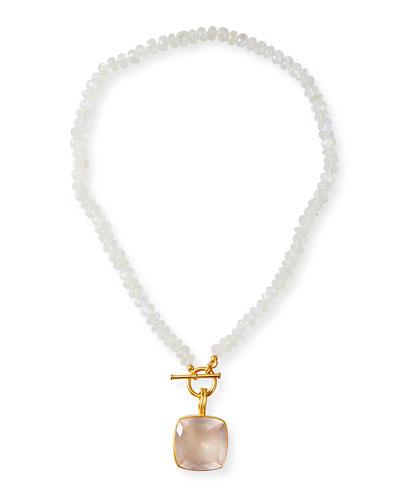Rainbow Moonstone Quartz Pendant Necklace
