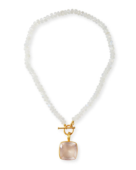 Dina Mackney Rainbow Moonstone Quartz Pendant Necklace