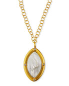 Dina Mackney Mother-of-Pearl Marquise Pendant w/ Chain