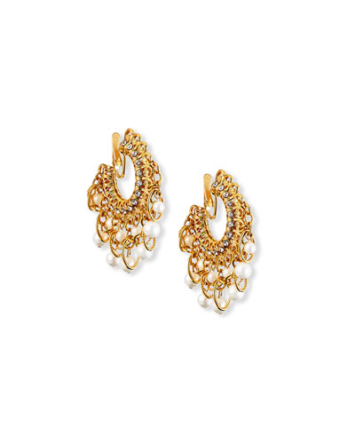 Pearly Filigree-Hoop Clip Earrings