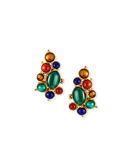 Jose & Maria Barrera Bezel-Cabochon Clip Earrings