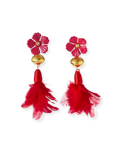 Hibiscus Feather-Drop Earrings