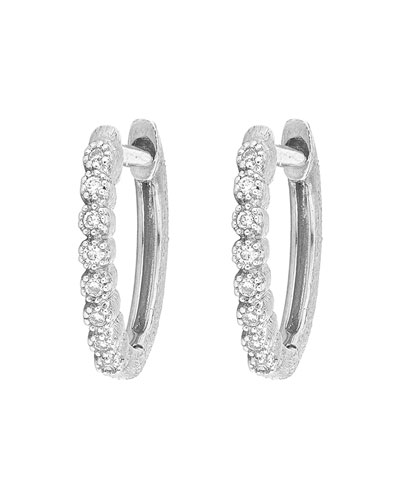 Delicate Provence Champagne Hoop Earrings, White Gold