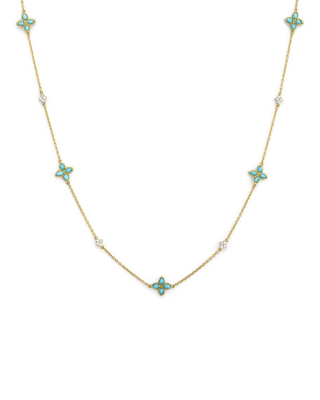 Jude Frances Moroccan Pear Flower Station Necklace w/ Turquoise & Diamonds