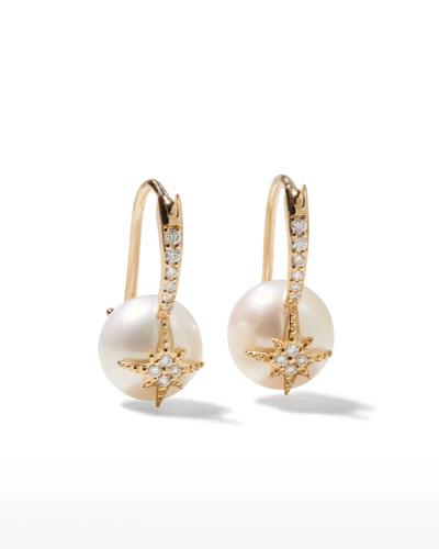 14k Diamond Starburst Pearl Earrings