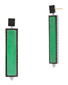 Freida Rothman Industrial Finish Green Agate Rectangle Earrings
