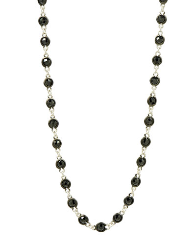 Industrial Finish Bezel Stone Necklace, 36