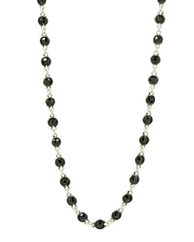 Industrial Finish Bezel Stone Necklace, 36