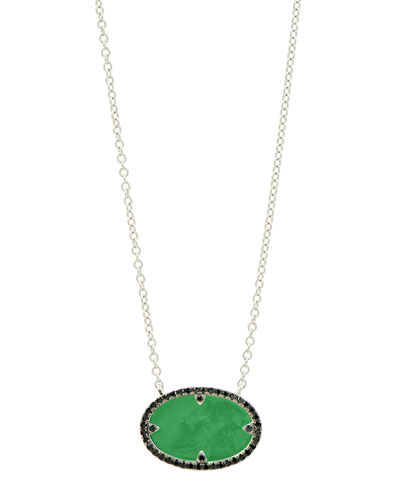 Industrial Finish Oval Pendant Green Agate Necklace