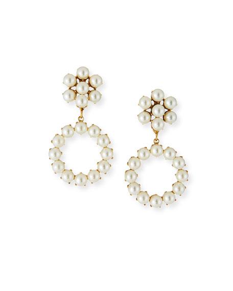Jennifer Behr Soraya Pearly Hoop-Drop Earrings
