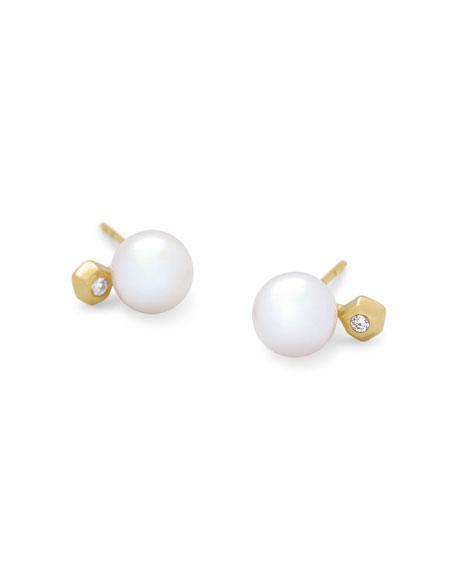 Kendra Scott Cathleen Pearl Stud Earrings w/ Diamonds