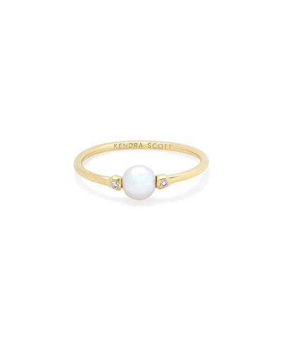 Cathleen Pearl Ring w/ Diamonds, Size 6 & 7