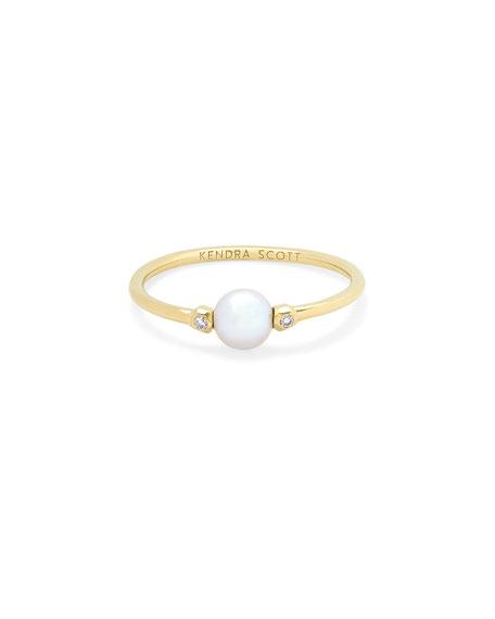 Kendra Scott Cathleen Pearl Ring w/ Diamonds, Size 6 & 7