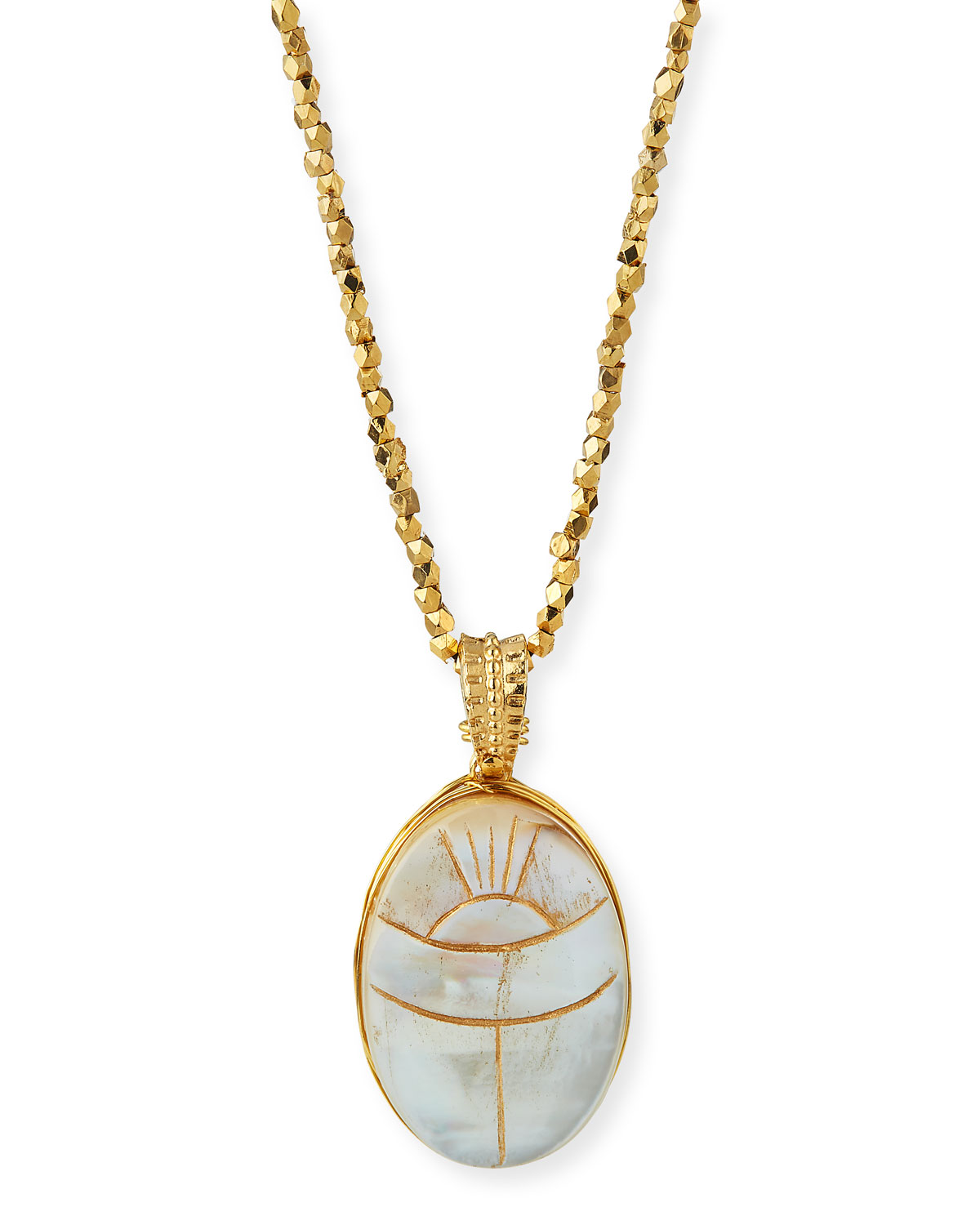 Lucky scarab necklace by Gas Bijoux. 24-karat yellow gold plating over brass. Oval pendant with mother-of-pearl. Approx. 32\