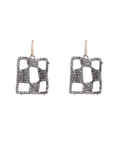 Pave Checkerboard Wire Earrings
