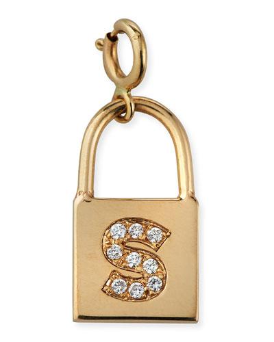 14k Small Padlock Charm w/ Diamond Initial