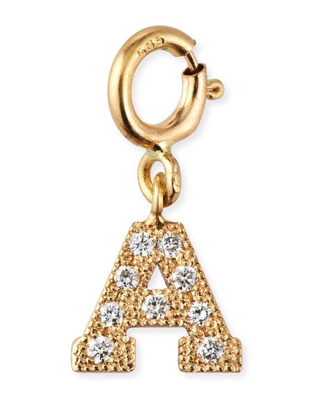 Zoe Chicco 14k Pave Diamond Block Initial Pendant