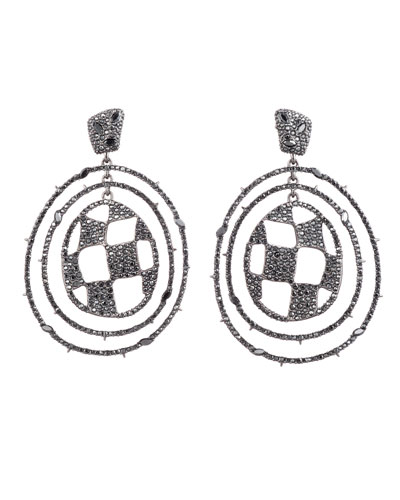 Pave Checkerboard Orbiting Post Earrings, Black