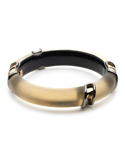 Two-Tone Sectioned Hinge Bracelet, Gold