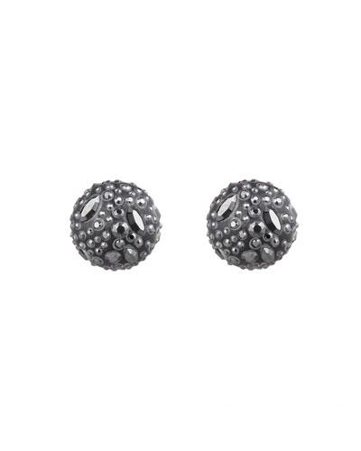 Noir Dust Watery Sphere Clip Earrings, Black