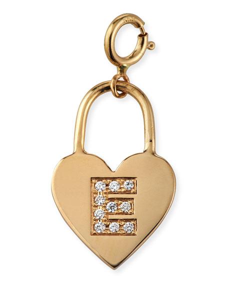 Zoe Chicco 14k Small Heart Charm w/ Diamond Initial