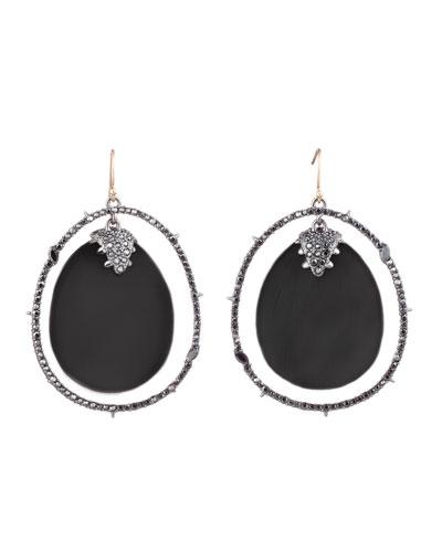 Crystal Orbiting Drop Wire Earrings, Black