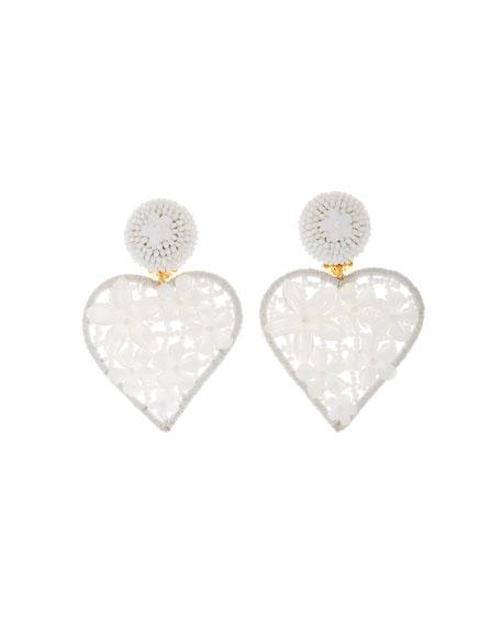 Oscar de la Renta Embellished Heart Clip Earrings