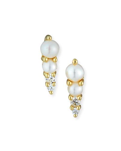 Pearl Stud Earrings w/ Cubic Zirconia