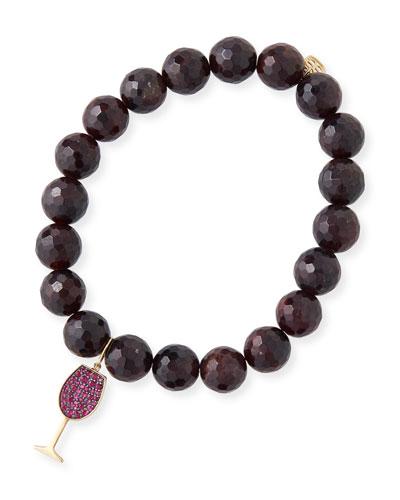 14k Ruby Wine Glass Garnet-Bead Bracelet