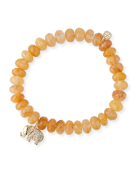 Sydney Evan 8mm Orange Quartz Bead Bracelet w/ 14k Gold Elephant Charm