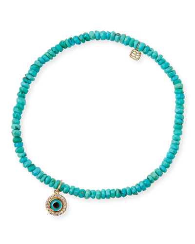 14k Arizona Turquoise & Evil Eye Bracelet