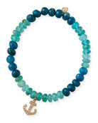 Sydney Evan 14k Diamond Anchor & Apatite Bracelet