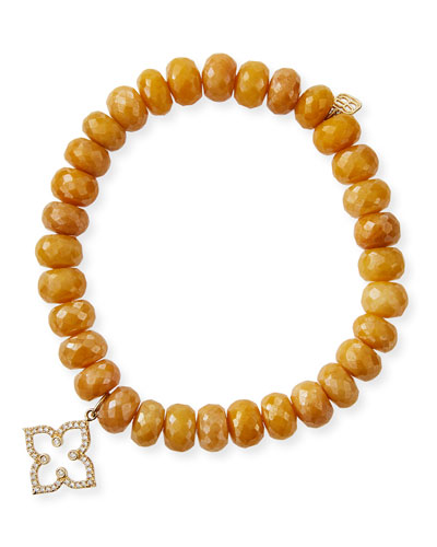 14k Diamond Moroccan Flower & Yellow Silverite Bracelet