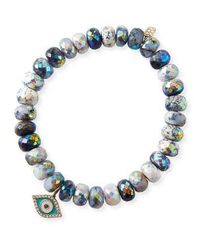 14k Dendrite Opal & Evil Eye Bracelet