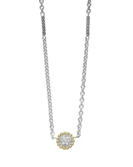 Lagos Diamonds & Caviar Pendant Necklace