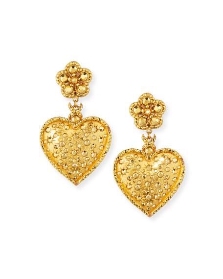 Jose & Maria Barrera Monochromatic Crystal Heart-Drop Earrings
