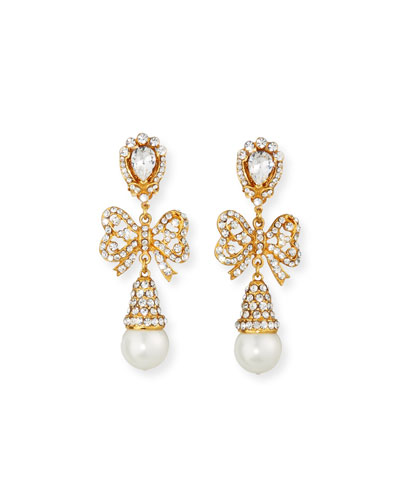 Crystal Bow Pearly Drop Earrings