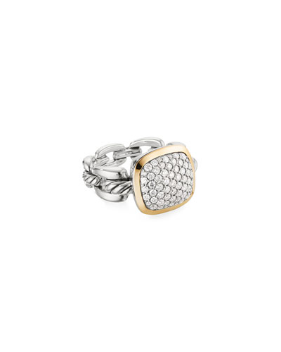 Wellesley Link Diamond & 18k Gold Ring, Size 9