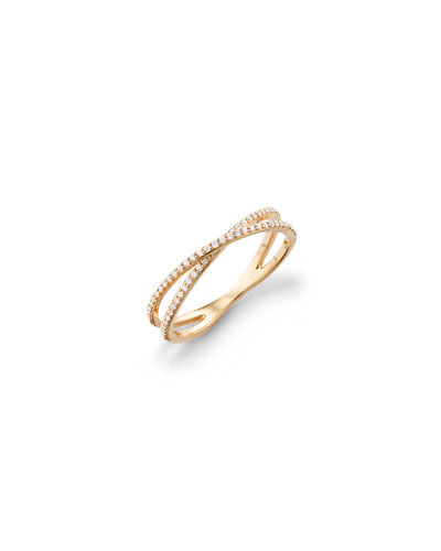 14k Skinny Crisscross Diamond Band Ring, Size 7