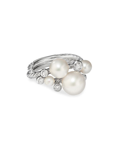 Pearl & Diamond Cluster Ring, Size 9