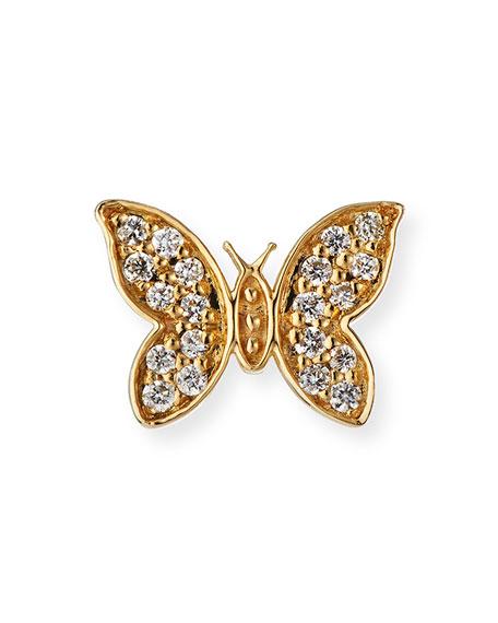 Sydney Evan 14k Diamond Tiny Butterfly Stud Earring, Single