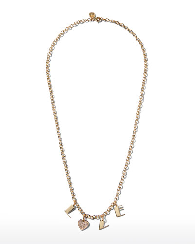 14k LOVE Charm Necklace w/ Diamond Heart