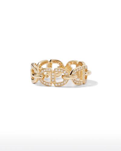 14k Alternating Diamond Pave Love Link Ring, Size 6.5