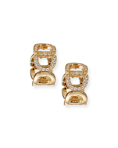 14k Diamond Chain-Link Huggie Earrings