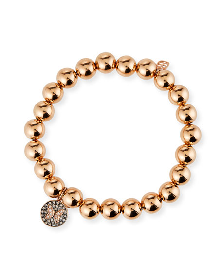 Sydney Evan 14k Rose Gold Diamond Small Butterfly Medallion Bracelet
