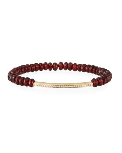 14k Garnet Bead Diamond Bar Bracelet