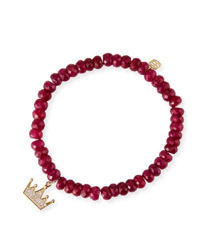 14k Diamond Crown Ruby Corundum Bead Bracelet