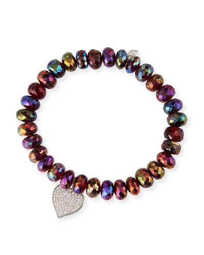 14k White Gold Diamond Heart Rhodolite Garnet Bracelet