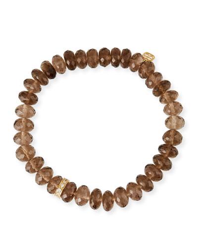 14k Smoky Quartz Diamond Rondelle Bracelet