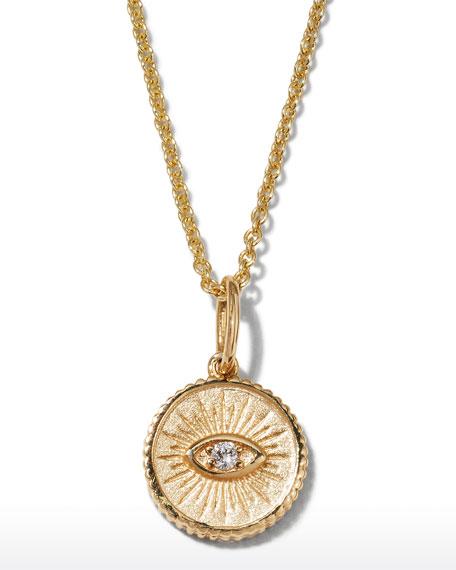 Sydney Evan 14k Diamond Evil Eye Coin Necklace